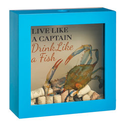 Evergreen - 'Like a Fish' Wooden Wall Cork Holder - Whether you're rolling down to Old Maui or just to the beach cocktail shack, this cork box is a must-have for every salty dog.   12'' W x 4'' H x 12'' D Wood / glass Imported