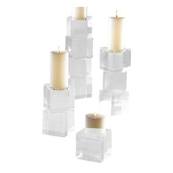 """Global Views - Escalier Pillar- Medium - Polished lead crystal cubes are stacked in a stair step to create over scale graceful candleholders. Each candleholder is wrapped in a black fabric bag and packed in a polished white gift box. Holds a 3""""dia Pillar Candle."""