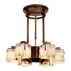 Kalco Lighting - Kalco Bedford 6-Light Chandelier With Wood Accents - Shown in Tuscan Gold finish with Alabaster Glass Panel. The Bedford Collection draws inspiration from 1960's Minimalist American Art. The use of rectilinear lines and industrial materials, like the sheets of either Hand-cut Alabaster or Iridescent Glass, are hung in a way that was inspired by the art of Eva Hesse. Highlighted with Copper Patina or Solid Cherry accents, these fixtures are bold and eye-catching. Overall size is 30 in. W x 30 in. D x 43 in. H.