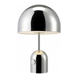 "Tom Dixon - Tom Dixon Bell Table Lamp - The Bell Table Lamp is designed by Tom Dixon and made by Tom Dixon. An exercise in reductionism  Bell is a dome suspended over a dome formed of chrome plated pressed steel. The hyper-polished, mirrored and reflective surface allows Bell to take on the tone and characteristics of its surrounding area  our continued exploration into the super-shiny. The Bell table lamp  by Tom Dixon has two cupolas and connected with a slender rod seem to float one above the other. The glare-free light is oriented downwards and can be dimmed with the aid of the switch located on the lamp.         Product Details: The Bell Table Lamp is designed by Tom Dixon and made by Tom Dixon. An exercise in reductionism  Bell is a dome suspended over a dome formed of chrome plated pressed steel. The hyper-polished, mirrored and reflective surface allows Bell to take on the tone and characteristics of its surrounding area  our continued exploration into the super-shiny. The Bell table lamp  by Tom Dixon has two cupolas and connected with a slender rod seem to float one above the other. The glare-free light is oriented downwards and can be dimmed with the aid of the switch located on the lamp. Details:                         Manufacturer:            Tom Dixon                            Designer:            Tom Dixon                            Made in:            United Kingdom                            Dimensions:            Shade Diameter: 11"" (28 cm) x Height: 17.3"" (44 cm)                             Light bulb:            1 x  A19 Max 60W  Incandescent                            Material:            Steel"