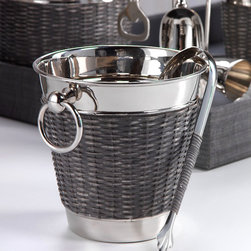 Woven Cane Wine Chiller with Ice Tong - With a stunning grey woven sugarcane detailing the outer portion of the chiller along with it's shining nickel composition, the Woven Cane Wine Chiller with Ice Tong and corresponding collection epitomizes casual elegance. Utilize the matching Bartool Set, Ice Bucket and Cocktail Shaker in your pool house or pub room and you have a beautiful collection for your bar that is sure to delight.