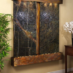 Marble Wall Water Features - The Cottonwood Falls with Brown Marble - The Cottonwood Falls Wall Fountain with Marble Face is breath-taking with its dual panels of beautiful marble. With three selections of marble to choose from, there are several colors, styles, and looks you can achieve by simply selecting a different stone. This large water wall ships directly to your door, for free anywhere in the continental US. Installation is simple and each fountain arrives with a full installation DVD and set-up manual. The Cottonwood Falls with marble face is perfect for anyone looking to add some serious style to their interior space. Available with round or square corners and rainforest green, rainforest brown or black spider marble... and three finishes: Rustic Copper, Stainless Steel, or Antiqued Blackened Copper Finish.