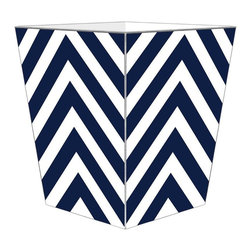 "Marye Kelley - Marye Kelley Navy Chevron Decoupage Wastebasket with Optional Tissue Box, 11"" Sq - This is a handmade decoupage wastebasket with optional tissue box.  All items are handmade in the USA.  There are three different styles available.  There is the 12"" Fluted Tin Design, the 11"" Square Design with a flat top or the 11"" Square design with a scalloped top.  Coordinating tissue boxes may also be made. Please note all items are custom made and may not be returned."