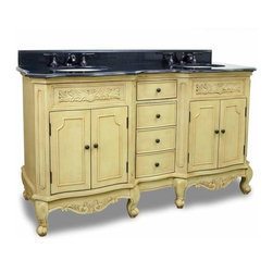 Elements - Elements Clairemont Buttercream Vanity, Painted Buttercream, 61 Inch - Elements 60 7/8 Inch wide MDF (Medium-density fibreboard) double vanity features carved floral onlays and French scrolled legs for a traditional feel. The buttercream finish with antique crackle finish is created by hand making each piece unique. Two large cabinets with a center bank of fully functional drawers provide ample storage. Elements vanity has a 2CM black granite top preassembled with two H8809WH (15 Inch x 12 Inch) bowl cut for 8 Inch faucet spread and corresponding 2CM x 4 Inch tall backsplash. Overall Measurements: 60 7/8 Inch x 22 7/8 Inch x 35 3/4 Inch (measurements taken from the widest point) Finished in Painted Buttercream Material: MDF (Medium-density fibreboard) Style: Traditional Coordinating Mirror(s): MIR061 Bowl: H8809WH