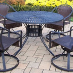 Oakland Living - 5-Pc Outdoor Round Dining Table Set - Includes one dining table and four swivel resin wicker chairs. Umbrella hole. Metal hardware. Fade, chip and crack resistant. Warranty: One year limited. Made from aluminum, steel and resin wicker. Black hardened powder coat finish. Minimal assembly required. Table: 48 in. Dia. x 29 in. H. Swivel chair: 25.5 in. W x 23.25 in. D x 34 in. H (24 lbs.). Overall weight: 159 lbs.This dining set is the perfect piece for any outdoor dinner setting. Just the right size for any backyard or patio. The Oakland Sunray Collection combines contemporary style and modern designs giving you a rich addition to any outdoor setting. The traditional lattice pattern and scroll work is crisp and stylish. Each piece is hand cast and finished for the highest quality possible.