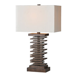 """lamps - The Cosma lamp features a brown stacked design base and is topped with an ivory linen shade and matching finial.  29""""H"""