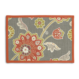 Gray & Orange Stylized Floral Tailored Placemat Set - Class up your table's act with a set of Tailored Placemats finished with a contemporary contrast border. So pretty you'll want to leave them out well beyond dinner time! We love it in this funky stylized floral with bold bursts of burnt orange & small hints of metallic gold & chartreuse swirling across a cherry red cotton background.