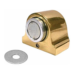 Renovators Supply - Door Stops Bright Gold Brass Magnetic Door Bumper 1 3/8H - Magnetic Doorstop Holder. Get more out of your doorstop: Protect your walls & doors & keep a door open when needed with a magnetic doorstop holder. Dual function holds door open & gently releases with a simple pull while acting as a doorstop. Made from SOLID BRASS with a gold color finish. Mounts to the FLOOR. Concealed back plate HIDES unsightly screws, hardware included.