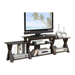 Adarn Inc. - Espresso X-Shaped Legs Support Storage Multi-Level TV Stand w/ Side Shelves - Framed in x-shaped leg supports, this TV stand includes side shelf's for storing all your home entertainment components. Accessories not included.