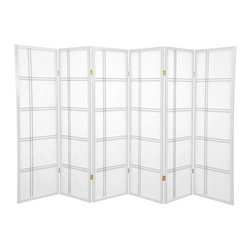 Oriental Furniture - 5 ft. Tall Double Cross Shoji Screen - White - 6 Panels - This beautiful Shoji screen adapts a traditional Japanese design element for the modern home. Shoji rice paper has been used in Japanese homes for over a thousand years because of its lightweight design, portability, and translucence. This folding screen uses this time-tested material in an elegant double cross spruce frame that can be easily moved and adjusted to partition a room or provide privacy.