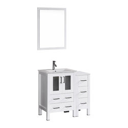"""Bosconi - 36"""" Bosconi AB124U1S Single Vanity, White - Form meets function with this chic 36"""" glossy white Bosconi vanity set. The simple modern lines are accentuated by the ceramic integrated sink and perfectly matching vanity mirror. Versatile features include a single cabinet with soft closing doors and one detached side cabinet with three drawers. All spacious enough to store all of your accessories and bathroom essentials."""