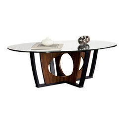 Armen Living - Armen Living Decca Oval Glass Top Coffee Table in Espresso - Armen Living - Coffee Tables - LC6207COBL