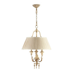 Cyan Design - Cyan Design Maison Traditional Pendant Light X-24640 - A stylish shabby chic look, this Cyan Design pendant light is a perfect addition to a variety of spaces. From the Maison Collection, it features a unique Persian White finish that gives an aged look to the traditional details. Three candelabra style lights hidden behind a pleated shade compliment the shabby chic style and pull the look together.