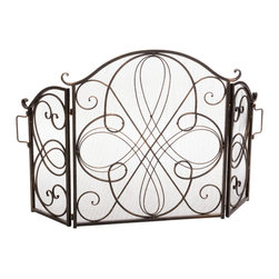 Great Deal Furniture - Rosalinda Floral Iron Fireplace Screen, Gold Finish - The Rosalinda Fireplace Screen is beautifully crafted out of iron and highlights ornate design work on the face of the screen. The sophistication of this fireplace screen adds a refined look to any fireplace filled room.
