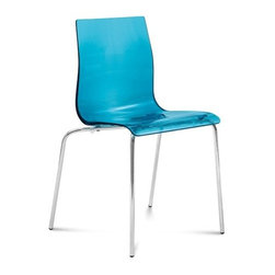 Domitalia - Domitalia | Gel-B Stacking Chair, Set of 2 - Made in Italy by Domitalia. Wispy and clean, it's easy to style a room or a table with this versatile chair. Gel-B is constructed of a lacquered metal frame with a styrene acryl nitryl shell. Stackable to four high. Sold in sets of two. Select transparent Orange, Red or Fumé or opaque Black or White.