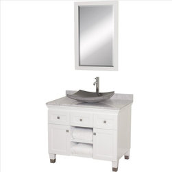 Wyndham Collection - Wyndham Premiere Vanity with White Marble Top - A bridge between traditional and modern design, and part of the Wyndham Collection Designer Series by Christopher Grubb, the Premiere Single Vanity is at home in almost every bathroom decor, blending the simple lines of modern design like vessel sinks and brushed chrome hardware with transitional elements like shaker doors, resulting in a timeless piece of bathroom furniture.