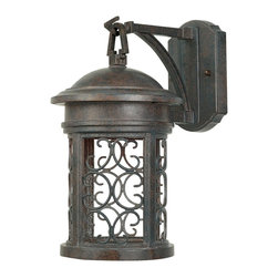 Designers Fountain - Designers Fountain Ellington Dark Sky Traditional Outdoor Wall Sconce - No stylish home should be without this Designers Fountain Ellington Dark Sky Traditional Outdoor Wall Sconce. It has a cast aluminum frame in an attractive, Mediterranean patina finish with a delicate pattern of scroll grill work. It's a one-light, 13-inch-tall piece that's sure to cast emits a soft inviting light in any outdoor space.