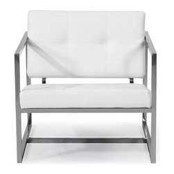 Kardiel - Kardiel Modern 1950 Cube Chair, Arctic White Aniline Leather/Stainless Steel - Kardiel offers a rare Top Grain Aniline leather reproduction of the Circa 1950 Cube chair.  The design is a masterful play on geometric shapes combining to create the arms, the base frame and seat and back platform. The inner frame of the seat is wood wrapped in multi-density foam and Dacron. Gently button tufting on the seat and the back soften the appearance of the stoic cube shaped cushions. The joints of the stainless steel frame have been ground, sanded and sealed. The stainless steel frame is evenly polished to a satin brushed sheen. A premium quality option that is capable of comfortable practical performance in both modern contemporary loft and mid century modern design themes.