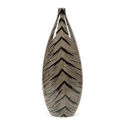 "IMAX - Leo Large Ceramic Vase - Subtle zebra inspired pattern and a soft neutral color palette with a bold high gloss finish make this versatile large ceramic vase compatible with a variety of decor.  Item Dimensions: (31.5""h x 7.25""w x 12.25"")"