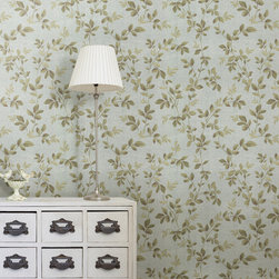 Cleo Dark Blue Dog Rose Leaf Trail Brewster Wallpaper - The Claremont book from Brewster is full of classic colors and patterns to add a relaxed feeling of home to rooms.