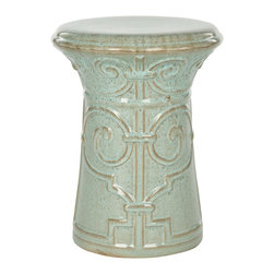 Safavieh - Bari Garden Stool - Adapted from the motif of an ancient Chinese palace gate, the Bari garden stool is crafted of high fired ceramic with an artful reactive aqua glaze. This versatile piece can be used as extra seating, a side table or plant stand indoors or out.