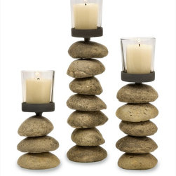 "Imax Worldwide Home - Cairn Candleholders with Glass Votive Cup - Set of 3 - Rock textured set of 3 Candleholders; Country of Origin: China; Weight: 5.5 lbs; Dimensions: 6.5-9-11.25""h x 2.75""d"