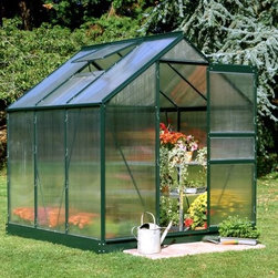 Halls Popular Green 6 x 6-Foot Greenhouse - Additional Features Includes aluminum or plastic strips to attach to the ends Strips prevent objects getting stuck between the layers UV resistant coating protects your plants Beautiful green frame accents the greenhouse Door measures 24W x 64H inches Sidewall measures 4 feet Peak height measures 6.5 feet Measures 6L x 6W x 6.5H feet Your plants and flowers will thrive year-round in the Halls Popular Green 6 x 6-foot Greenhouse. With its traditional green frame and well-made design you'll love spending time taking care of your plants. The greenhouse is made with 4mm thick double-walled panels that have a polycarbonate glaze to diffuse the light and a protective UV resistant coating to keep your plants from getting burned. Lightweight and virtually unbreakable the Halls Popular Greenhouse features plastic or aluminum strips that attach to the ends and prevents dirt bugs and other foreign objects from getting stuck between the panels. Assembly is a weekend project for one or two people. About The Greenhouse Connection LLCThe Greenhouse Connections was established in 1993 to connect gardeners who are looking for a well-made traditional English greenhouse with Halls Garden Products Ltd. of England the world's leading manufacturer of hobby greenhouses. By networking with a variety of people and companies including independent garden centers nurseries mail-order garden and seed catalogs and greenhouse supply companies The Greenhouse Connection does just that. Their offices are located in Grant Pass OR.