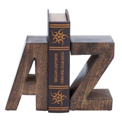 """Benzara - Wood Book End Pair with Wood Grain Design - Designed with great finesse, this Wood Book End Pair 8""""H, 5""""W offers a vivacious look to settings. Expertly crafted using premium grade materials, this book end pair offers durability and long lasting performance. Delightfully designed as letters A and Z from the English alphabet, this book end also makes for a charming decor accent. The sturdily constructed book end pair can be incorporated on shelves, mantelpieces as well as table tops to organize your collection of books. Provided with grommets on the base, this book end pair does not slip or slide during use. Decorated with a wood-grain design, this book end pair flaunts a dark finish and an elegant matte texture. It is a nice gift item for your office colleague..; Offers durability and long lasting performance; Designed as letters A and Z from the English alphabet; For use with shelves, mantelpieces and tabletops; Grommet on the base prevent slipping; Weight: 6.06 lbs; Dimensions:5""""W x 4""""D x 8""""H (One); 10""""W x 4""""D x 8""""H (Pair)"""