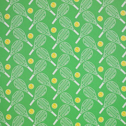 Tennis Natural & Electric Green - Tennis Anyone? This preppy print wallpaper adds some vibrant and sporty fun to any wall in the house. It's also manufactured in an eco-friendly way.