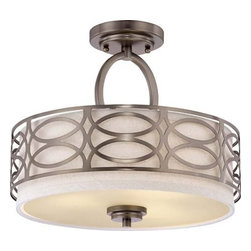 """Nuvo Lighting - Nuvo Lighting 60/4729 Hazel Bronze Harlow Harlow Three Light - Nuvo Lighting 60/4729 Harlow Three Light Semi-Flush Ceiling Fixture with Khaki Fabric Shade, in Hazel Bronze FinishThe Harlow collection is offered in gleaming Polished Nickel with Slate Gray fabric shades or richly toned Hazel Bronze with Khaki Linen shades. In either finish, Harlow is the perfect balance of style and glamour.Nuvo Lighting 60/4729 Features:Finished in Hazel BronzeRequires (3) 60 Watt Medium Base Incandescent Bulbs (Not Included)Khaki Fabric Shade with Cream DiffuserLight Direction: Up / Down - Light from this fixture illuminates both upward and downwardNuvo Lighting 60/4729 Specifications:Product Dimensions: 12""""H x 15""""WUL Listed for Damp Locations120 Volts180 Total Watts1.5 AmpsNuvo Lighting s Commitment to Quality: Threaded Sockets- All fixtures with fitted glass shades feature threaded ceramic sockets with fitters. Thumb screws are never used, which allows for a more refined look.Reinforcement- Vanity fixtures with arms on elongated backplates have steel reinforcement bars to prevent flexingDiffusers- All pendant fixtures with an open top are supplied with a glass diffuser, which helps alleviate  hot spotting  and evenly distributes lightChain and Wire- Hanging fixtures are provided with 12 feet of wire and 4 feet of chain. Oversized chandeliers include 6 feet of chainCUL Damp Location Listing- All flush mount dome fixtures are CUL Damp location listed, which allows more flexibility in installation.Founded in 1966, Satco is a well-known premier supplier of lighting products. With the companyÂ's keen understanding of the lighting industry, and after three years of development, Satco launched Nuvo Lighting on June 23, 2005. Nuvo Lighting"""