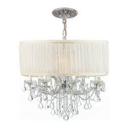 Crystorama - Crystorama Brentwood Chandelier X-MLC-WAS-HC-9844 - This isn't your Grandmother's crystal. The Brentwood Collection from Crystorama offers a nice mix of traditional lighting designs with large tailored encompassing shades. Adding either the Harvest Gold or the Antique White shade to these best selling skus