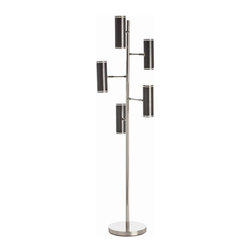 Arteriors Home - Arteriors Home Pruitt 5L Polished Nickel Floor Lamp - Arteriors Home 79664 - Arteriors Home 79664 - 5-light floor lamp constructed of a metal base, body and branched arms in a polished nickel finish with adjustable metal cylinder shades in a dark bronze finish featuring a perforated dot pattern edge trim on both ends of the shade.