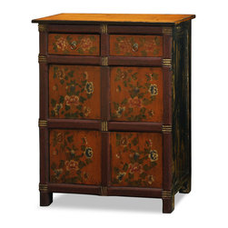 "China Furniture and Arts - Hand-Painted Floral Motif Tibetan Cabinet - As a timeless centerpiece, the expressive art style of Tibetan culture is manifested in this chest. Consists of ample storage with two drawers (12""W x 10""D x 3""H) and two double door compartments (25.5""W x 12""D x 13""H interior). Perfect for foyer, living room, and bedroom. Completely hand-constructed of Elmwood. It is a one-of-a-kind item and will last for generations to admire."