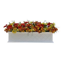 "Hooks & Lattice - La Fleur Fiberglass Window Box, White, 24"" - La Fleur Fiberglass Window Boxes include Stainless Steel Wall Mounting Brackets."