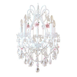 """5 Light Fairytale Crystal Chandelier - Inspired by centuries-old Fairy-tales fantasy and romance, this 5-light white chandelier has been dressed to impress with loads of sparkly crystal prisms and fancy-cut glass bobeches! Spectacular blush-pink porcelain roses in full bloom make this chandelier a true vision of romance, elegant, sparkly and undeniably dreamy The chandelier measures 17"""" wide across the arms and 23"""" long down to the sparkly crystal ball. The chandelier will come ready to hang with a matching ceiling canopy and a 22"""" long painted chain. Our items are always lovingly and meticulously Hand-made to order, using the finest of material."""