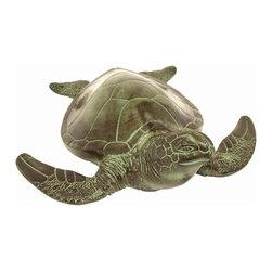 Achla - Sea Turtle Garden Statue in Verdi Finish - * Finish: Verdi. Construction: Cast Aluminum. 16.5 in. L x 15.5 in. W x 5.5 in. H