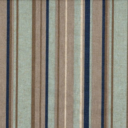 "Close to Custom Linens - 84"" Shower Curtain, Lined, Premier Stripe Blue Taupe Beige - Premier is a varied width stripe in shades of blue and taupe on a neutral beige linen-textured background. Reinforced button holes for 12 curtain rings."