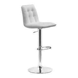 Zuo Modern - Zuo Modern Oxygen Modern Barstool X-153103 - Adjustable with button and tufting, the Oxygen is a breath of life to any bar, kitchen counter, or display stand. It has a chrome base and is fully wrapped in a washable leatherette.