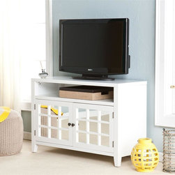 Southern Enterprises - Carter Mirrored TV-Media Stand in White - Includes 1 large, two-door cabinet with one adjustable shelf. Includes 1 fixed, open shelf. White finish. Aged bronze finish hardware. Features 1 cord management opening. Accommodates up to a 38 in. flat panel TV. Constructed of poplar, MDF and mirror. Assembly required. Max weight capacity: 175lbs (top shelf), 20lbs (each center shelf). 42.25 in. W x 16.25 in. D x 28.25 in. H. Cabinet: 38 in. W x 15.75 in. D x 16 in. H. Open, fixed shelf: 28 in. W x 15.75 in. D x 5.25 in. H. Space beneath unit: 38.5 in. W x 12.25 in. D x 3.25 in. H This beautiful TV/media stand brings style and great media storage to the table. The crisp, white finish and generous storage make this stand a delightful addition to any home. This TV/media stand features a wide, open shelf beneath the TV, perfect for electronics or game consoles. It also features two large cabinets for additional storage, such as movies and games. The cabinet doors feature mirrors for a striking reflection, which completes a room and reduces the visual clutter. This media stand offers simple, linear design and decorative use of mirrors; it's perfect for homes with a transitional to modern decor. The handcrafted touch of artisan skill creates variations in color, size and design. If buying two of the same item, slight differences should be expected. Note: color discrepancies may occur between this product and your computer screen.