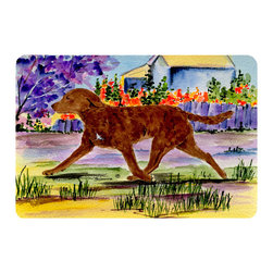 Caroline's Treasures - Chesapeake Bay Retriever Kitchen or Bath Mat 24 x 36 - Kitchen or Bath Comfort Floor Mat This mat is 24 inch by 36 inch. Comfort Mat / Carpet / Rug that is Made and Printed in the USA. A foam cushion is attached to the bottom of the mat for comfort when standing. The mat has been permanently dyed for moderate traffic. Durable and fade resistant. The back of the mat is rubber backed to keep the mat from slipping on a smooth floor. Use pressure and water from garden hose or power washer to clean the mat. Vacuuming only with the hard wood floor setting, as to not pull up the knap of the felt. Avoid soap or cleaner that produces suds when cleaning. It will be difficult to get the suds out of the mat.