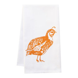 "artgoodies - Organic Quail Tea Towel - This high quality 100% certified organic cotton tea towel was custom made just for artgoodies! Hand printed with one of my original linocut block print images it measures 20""x28"" and comes wrapped in a green ribbon made from 100% recycled plastic bottles! Nice and absorbent for drying dishes, looks great when company is over, and makes a great housewarming gift!"