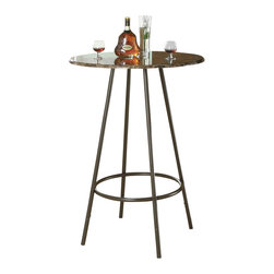 """Monarch Specialties - Monarch Specialties 2310 Round Marble Top Bar Table in Cappuccino - Enhance the trendy contemporary look of your casual dining area with this coffee metal 30"""" diameter bar table. Perfect for any space, this piece features straight tube legs and a cappuccino marble top."""