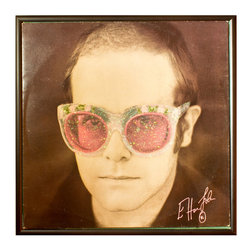 """Glittered Elton John Album - Glittered record album. Album is framed in a black 12x12"""" square frame with front and back cover and clips holding the record in place on the back. Album covers are original vintage covers."""