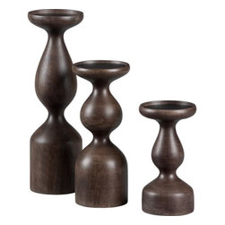 Prescott Candleholder Set - A set of 3 curvy candle holders on any side table will warm up a space in a hurry! Smooth, shapely and simple this trio adds a touch of sophistication to any home.