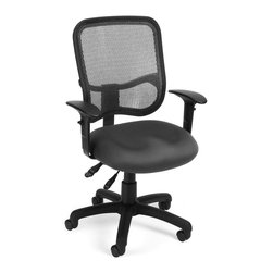 OFM - OFM Mesh Comfort Series Ergonomic Task Chair with Arms in Gray - OFM - Office Chairs - 130AA3A01 - Stay comfortable all day with OFM's Modern Mesh Ergonomic Task Chair 130-AA3. The back features built-in lumbar support and breathable mesh gives long-term comfort. Plus the mesh and seat fabric are it stain resistant so the chair keeps its good looks lo