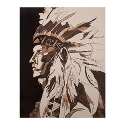 Kathy Kuo Home - American Indian Portrait Chief Rustic Lodge Water Color Wall Art - Unframed - Strong, silent type? Try adding a strong, silent statement of strength to your wall space with this Native American Chief graphic portrait. Let this accent piece instill a feeling of pride and protection to any room, be it a swanky apartment or country themed office.