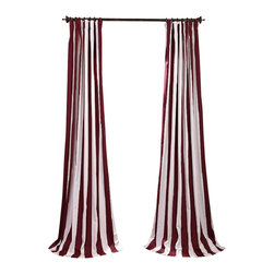 Exclusive Fabrics & Furnishings, LLC - Cabana Burgundy Printed Cotton Curtain - Window dressing needn't be a formal affair. These awning stripe curtains offer you just the right stroke of color and striking simplicity to compliment your furnishings — from cottage chic to a more modern mode. Simply sit back and enjoy the view.