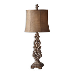Uttermost - Gia Scrolled Buffet Lamp - The minute your friends get a look at the wood grain details on the foot of this buffet lamp, and the heavily distressed, antique finish on the base, you know you'll have to answer some tough questions about your last vacation destination.