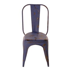 Kathy Kuo Home - French Iron Rustic Indigo Blue Cafe Chair - The curvy silhouette of this French iron café chair lets you lean back in style. The rustic, worn painted finish gives this piece an industrial look, while its rich indigo hue adds some fun to your urban dining table.