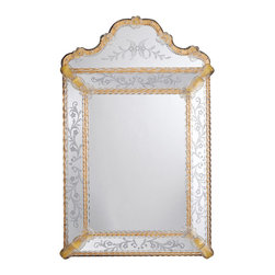"Inviting Home - Venetian Mirror with Scalloped Top - Venetian glass mirror; 22-1/2""W x 36""H x 3""D; hand-etched glass with golden highlights; hand-crafted in Murano (Italy); Elaborately designed beautiful vertical Venetian mirror with scalloped top framed in hand etched glass with leaf scrolls and flowers design. The trim on the top of the Venetian mirror is adorned with five hand blown clear glass rosettes and has beaded edges and golden highlights. Inner and outer trim of the mirror frame made of double twisted glass with gold highlights. Four rosettes and ribbed ribbons with golden highlights defining composition of mirror frame and completing its design. Back of this Venetian mirror is made of wood. Mirror is hand-crafted in Italy"
